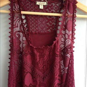 Beautiful burgundy lace tank